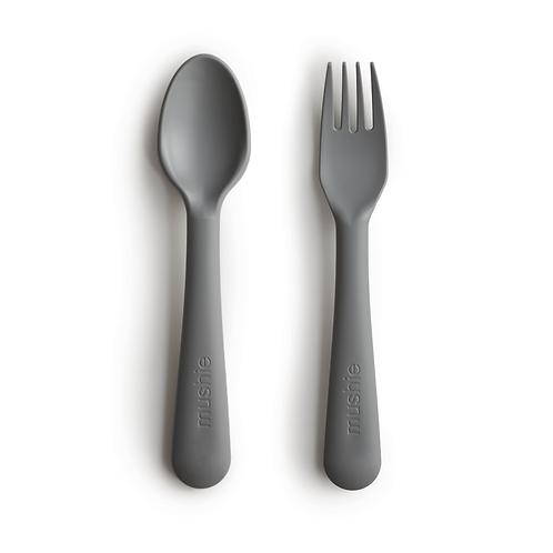 Mushie Fork & Spoon Set - Smoke