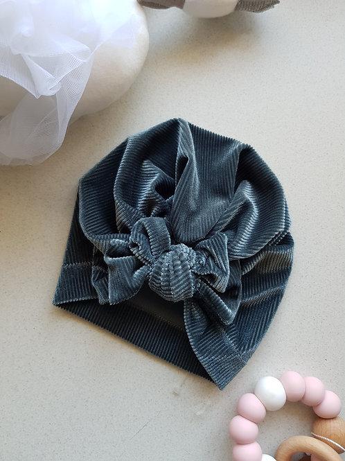 Velvet Blue Bow Turban
