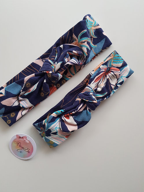 Pre-tied Topknot - Navy Floral