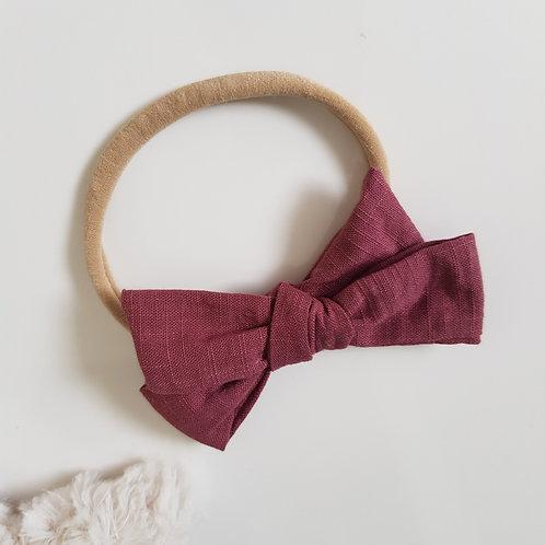 Knotted Bow Headband - Maroon