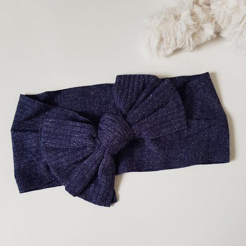 Stretch Bow Headband - Denim Jersey