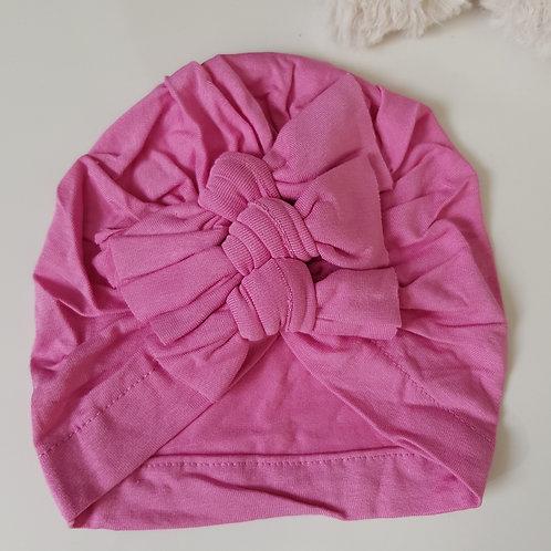 Triple Bow Turban - Pink