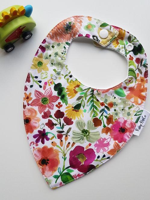 Teardrop Bandana Bib - Rainbow Floral