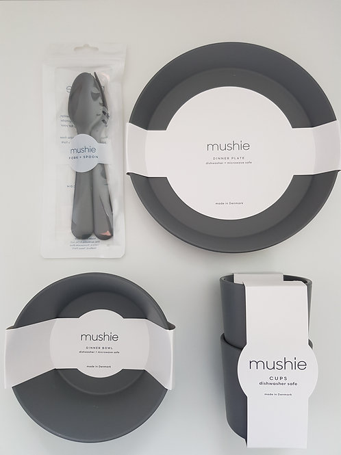 Mushie Dinnerware Set - Smoke