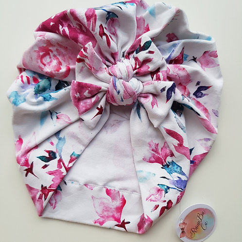 Pink Floral Square Bow Turban