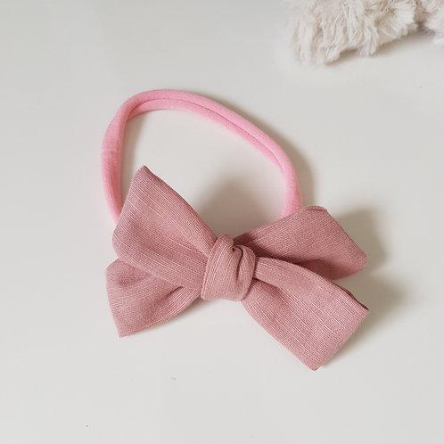 Knotted Bow Headband - Dusky Pink
