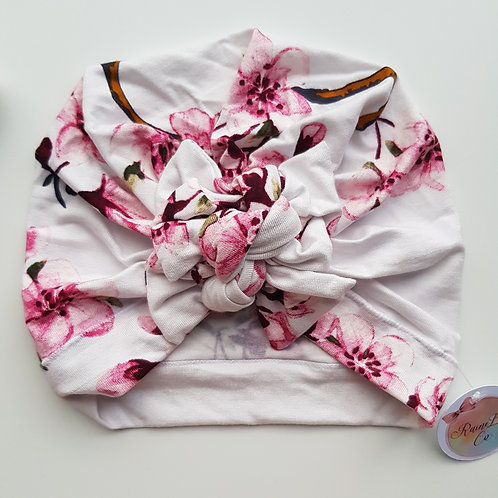 Cherry Blossom Square Bow Turban