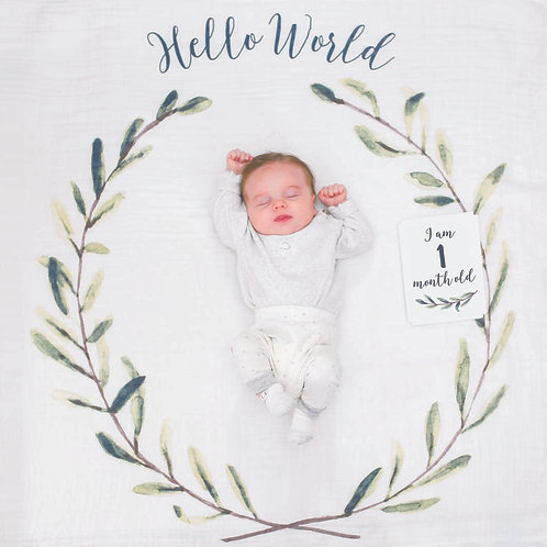 """Lulujo """"Hello World"""" Baby's First Year Blanket and Card Set"""