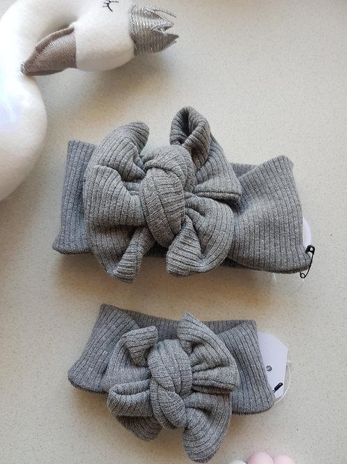 Ribbed Bow - Grey