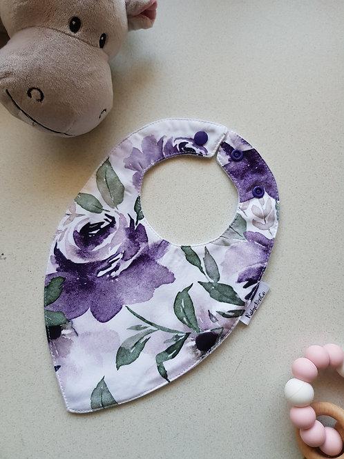 Teardrop Bandana Bib - Lilac Flower