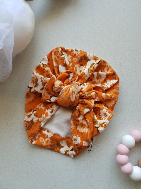 Golden Floral Square Bow Turban