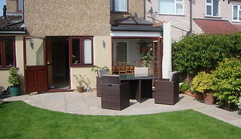 Premium paving and a stunning extension with landscaping.