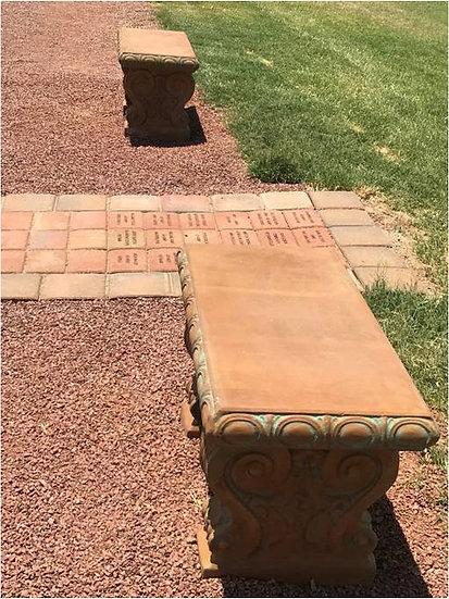 Large Concrete Bench with Inscription