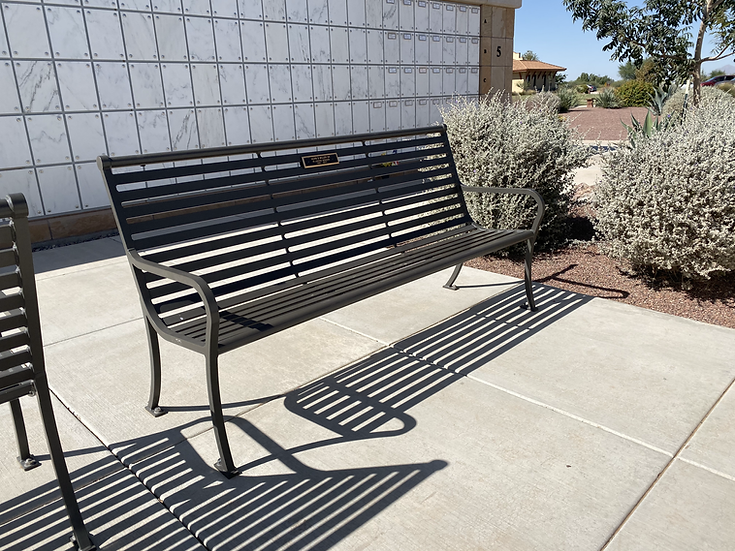 8' Columbarium Metal Bench with Inscription