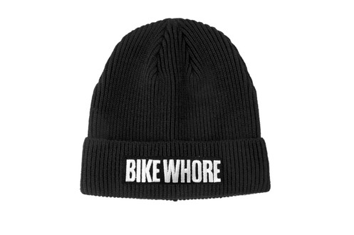 """80fe96fb The """"Bike Whore"""" visor beanie is a snug fit, crocheted beanie cap featuring  a cuffed, thick ribbed design and a short, pre-curved visor and features ..."""