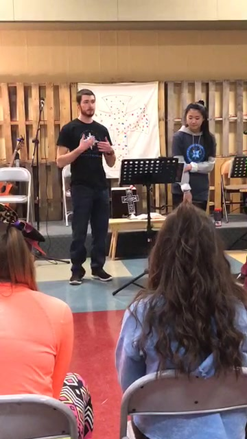Our student board members Clara and Cody speaking to United Methodist youth.