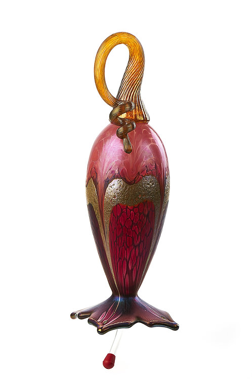 Cranberry Gold Ruby Hummingbird Feeder