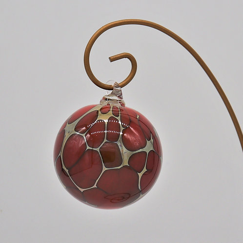 Red and Gold Glass Ornament