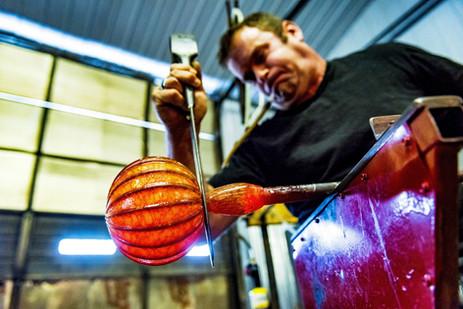 Blowing out a pumpkin