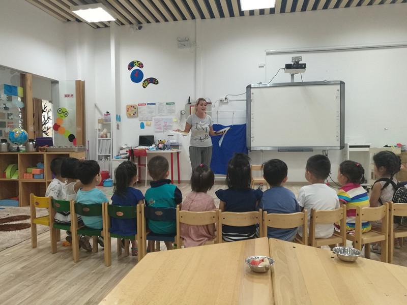 Teaching in the kindergarten.