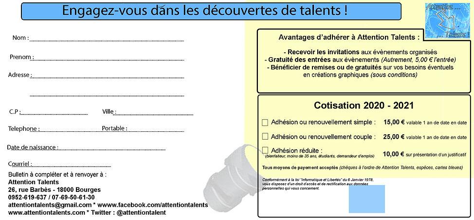 Bulletin adhésion Attention Talents 0801