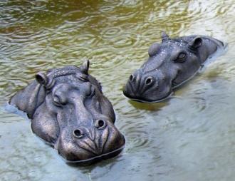 Bob and Grace hippo heads - bronze resin