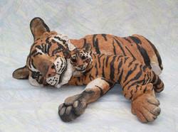 Suzie Marsh - Safe (question mark). Tiger & Cub -  hand-built in stoneware clay - 16cmH x 38cmL  x 2