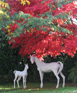 White Mare and Foal - olive stone resin