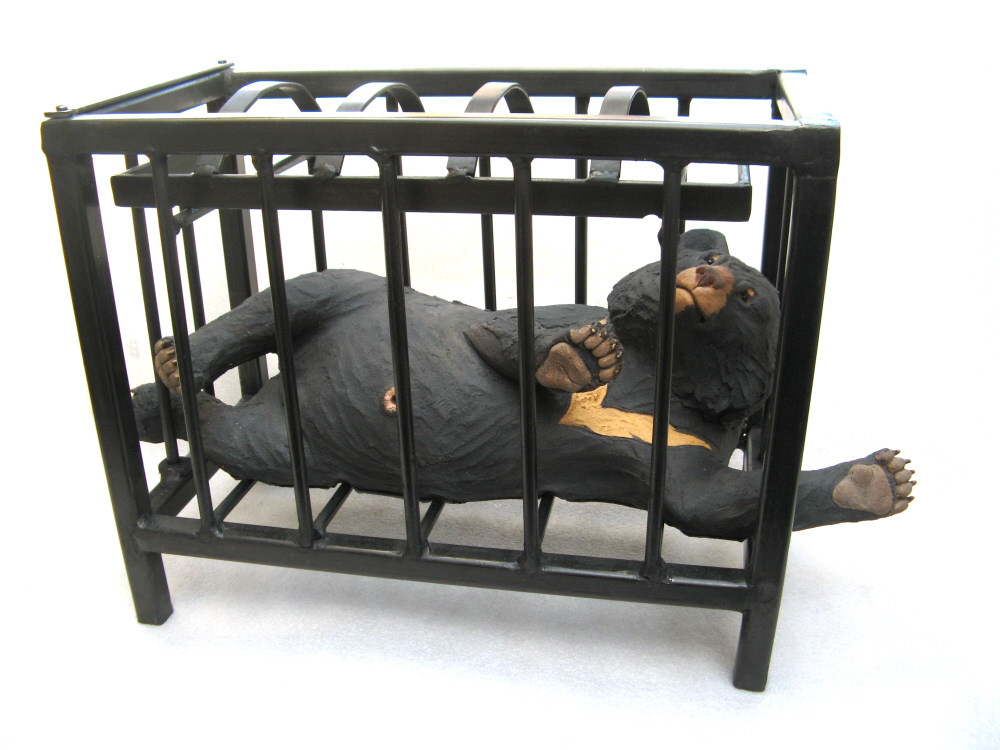 Moon Bear in crusher cage - Ceramic
