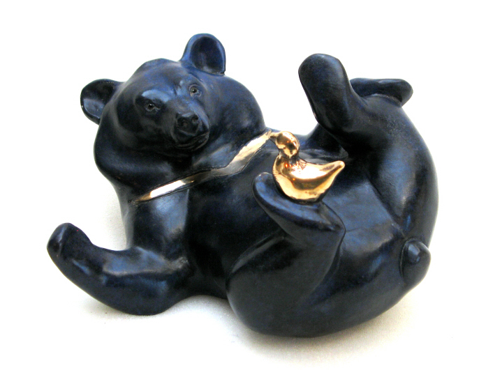 Moon Bear with Bird - foundry bronze.