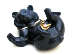 Moon Bear with Bird - foundry bronze.