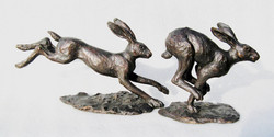 small Bronze Leaping & Running Hares