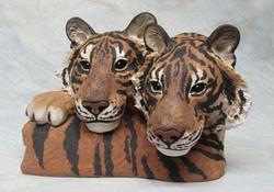 Brothers - Tiger Cub Heads - Stoneware Original Sculpture - 30cmH x 39cmL x 21cmD