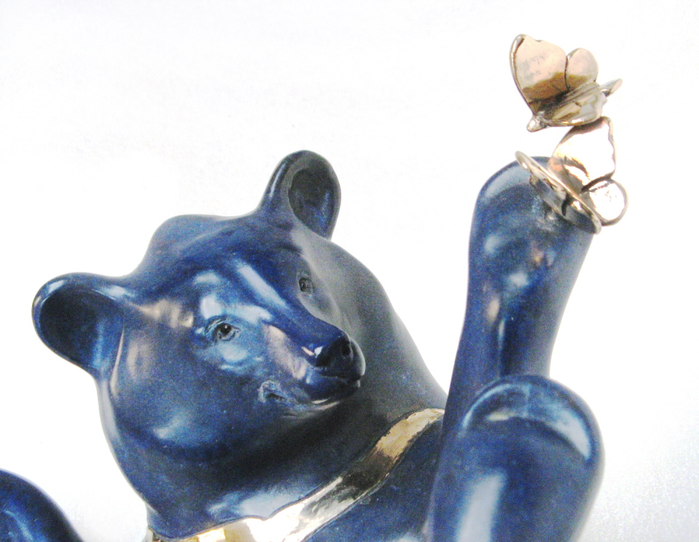 Moon Bear with Butterflies - detail - foundry bronze