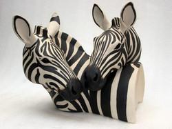 Suzie Marsh - Freinds. Zebra Heads - hand-built in stoneware clay - 29cmH x 28cmW x  28cmD