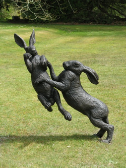 Large Boxing Hares - Bronze Resin
