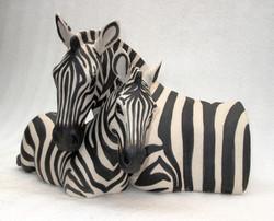 Suzie Marsh - Family. Zebra and foal - hand-built in stoneare clay - 25cmH x 36cmW x  29cmD