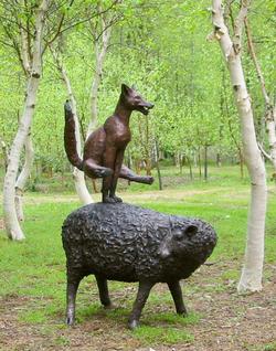 large Leapfrogging Fox - bronze resin