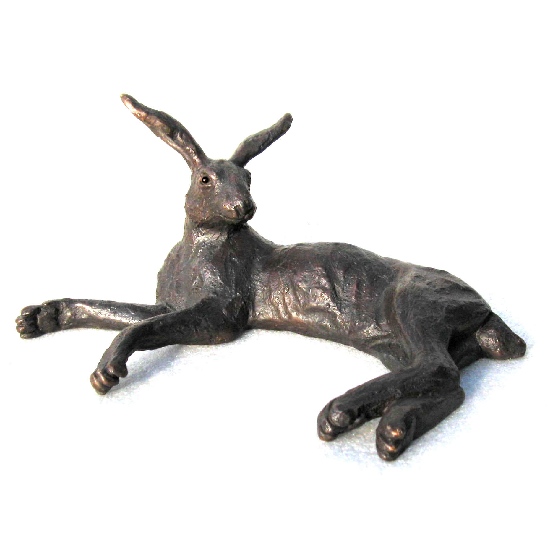 small Bronze Reclining Hare