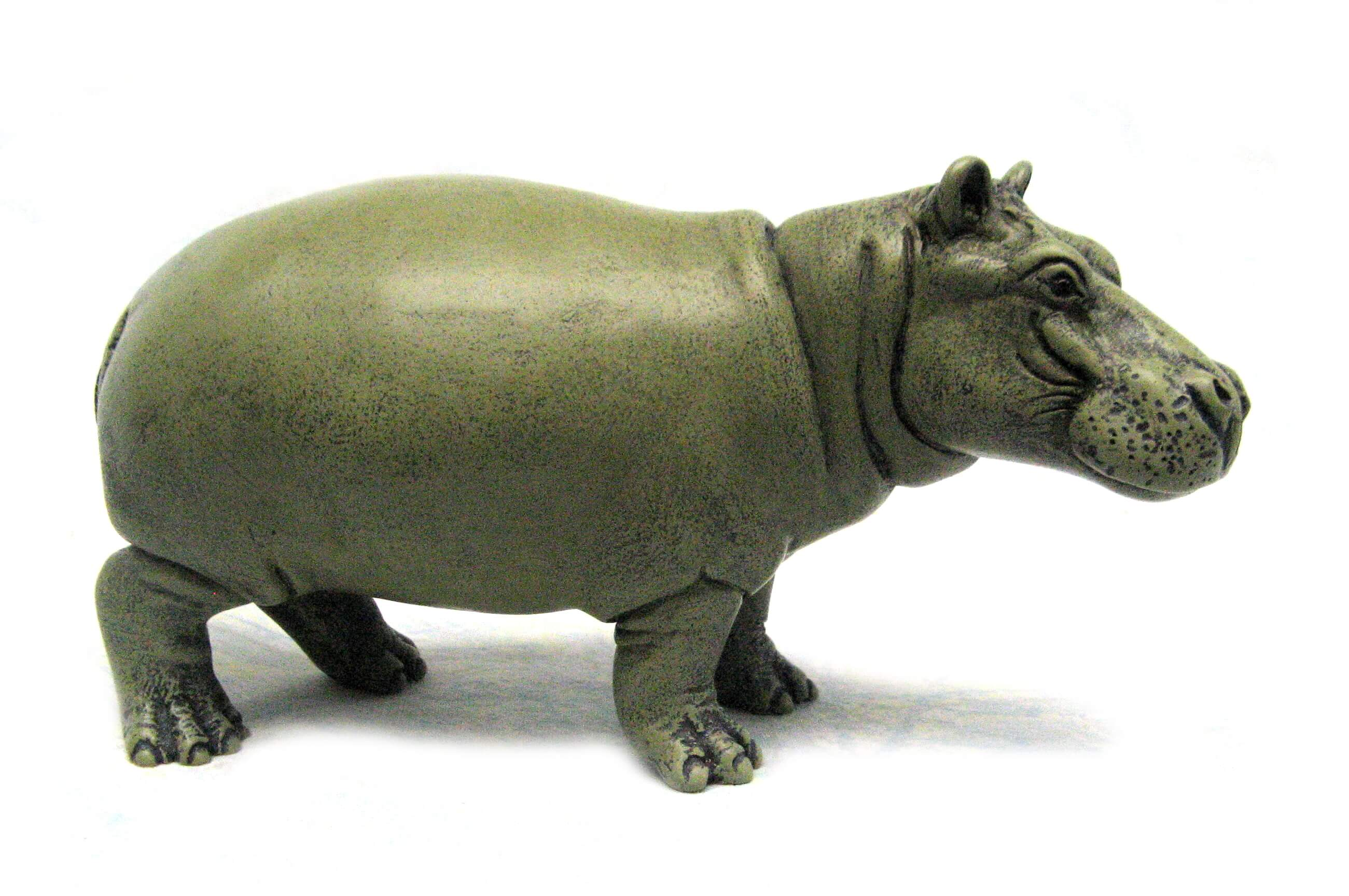 green standing hippo