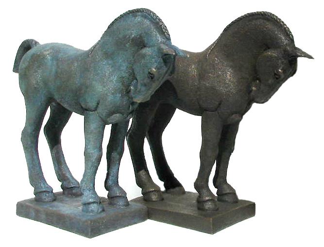 small Standing Horses - verdigris & bronze resin - L.E. 175