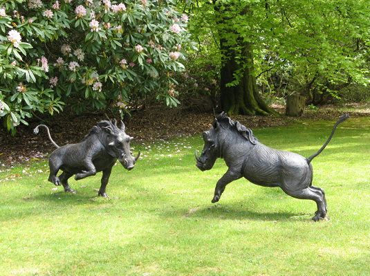 Arthur & Andy Warthogs - bronze resin