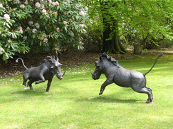 Arthur & Andy Warthogs - bronze resin