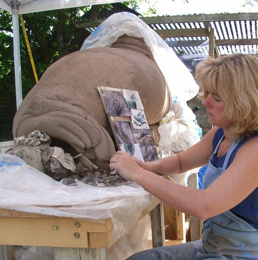 Suzie Marsh sculpting Nelson the Seal