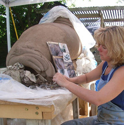 Suzie Marsh sculpting Nelson the Seal