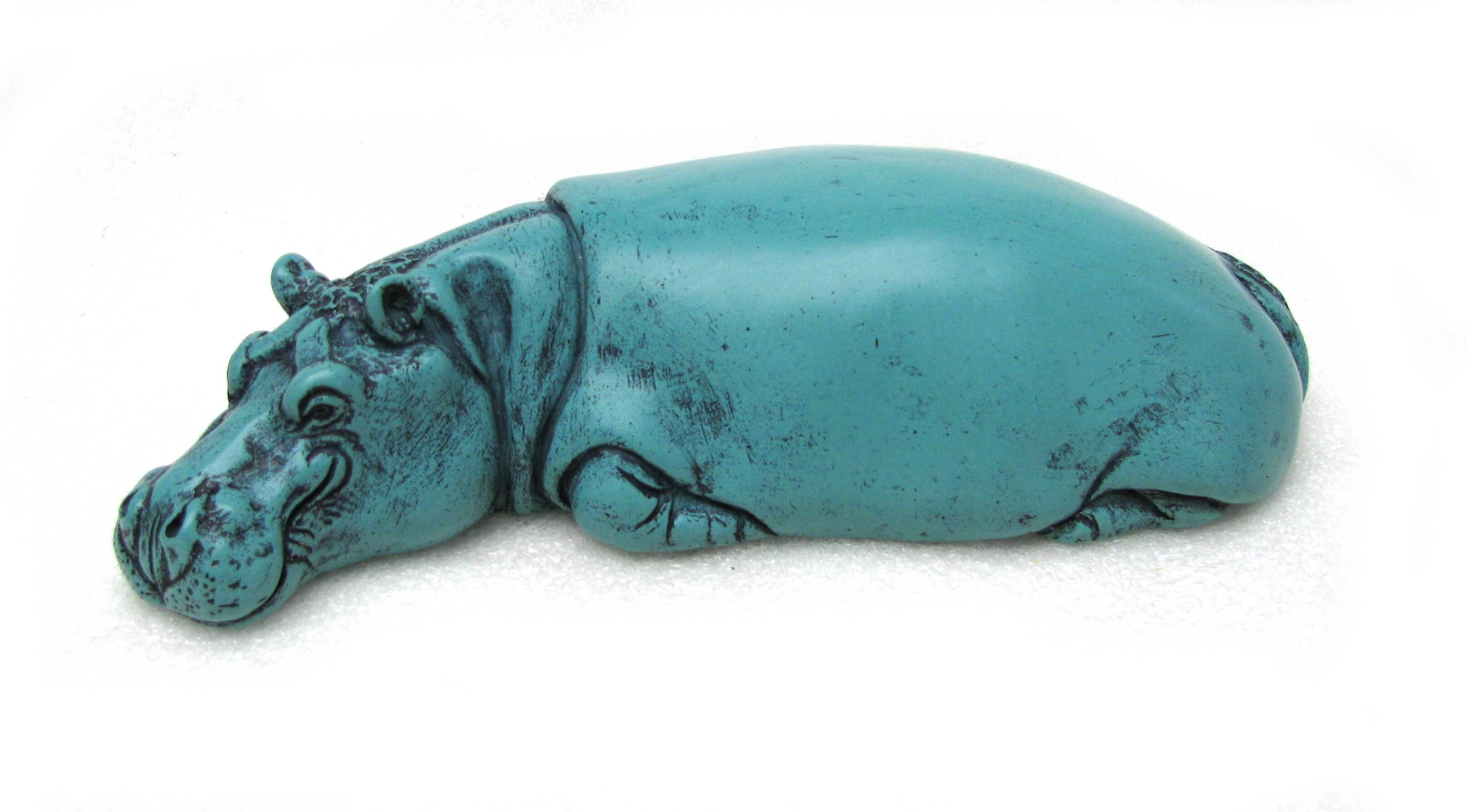 Lying Hippo in Turquoise
