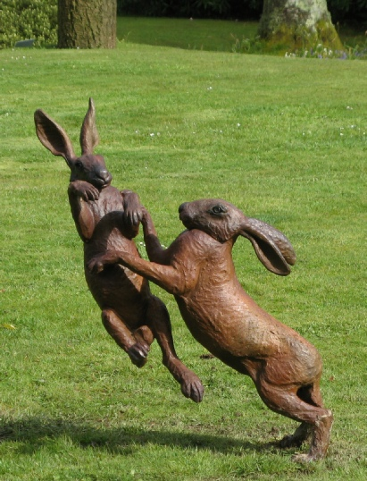 Large Boxing Hares - Foundry Bronze