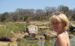 Suzie Marsh with Hippos in Zimbabwe