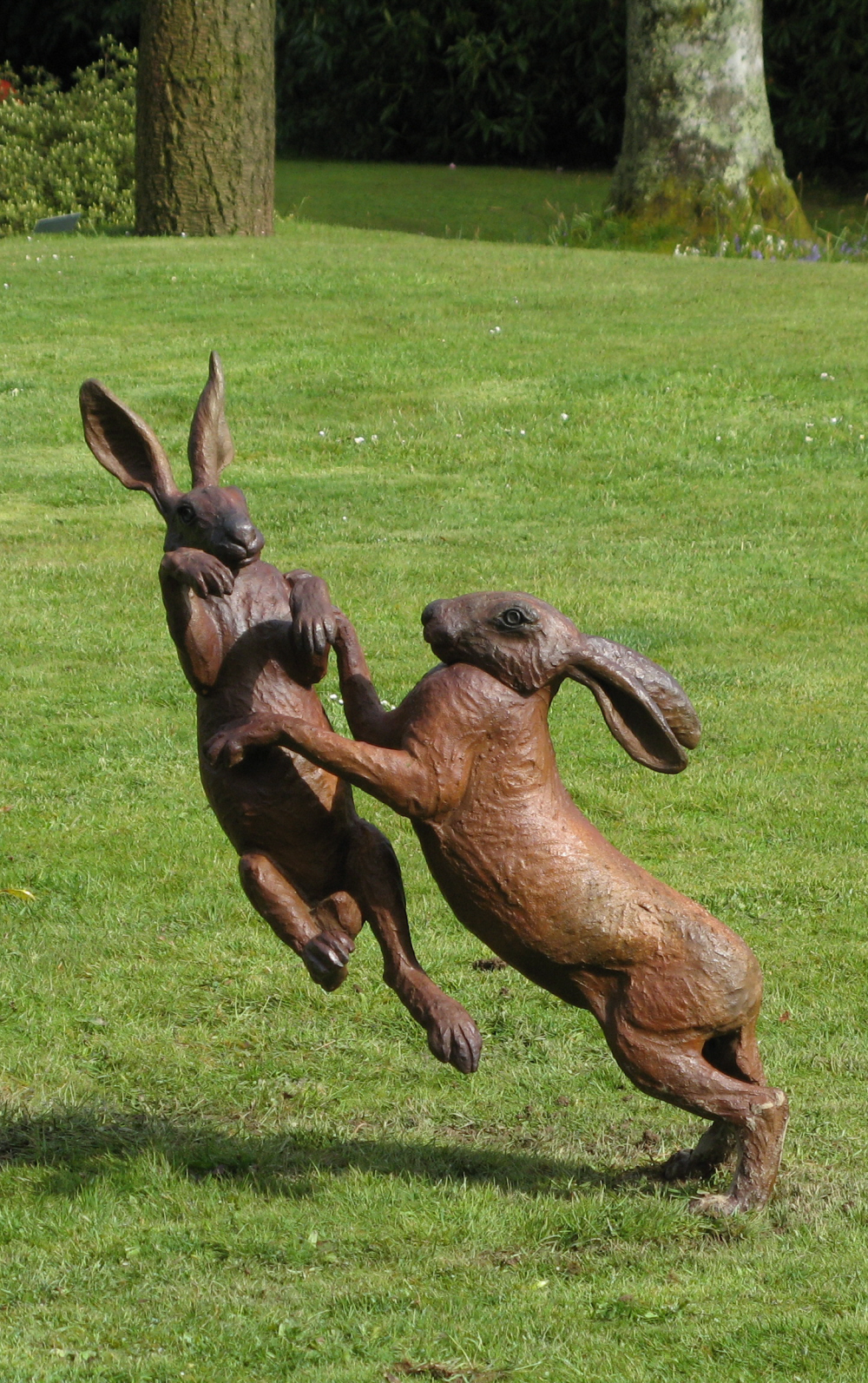 large Foundry Bronze Boxing Hares (red) - email