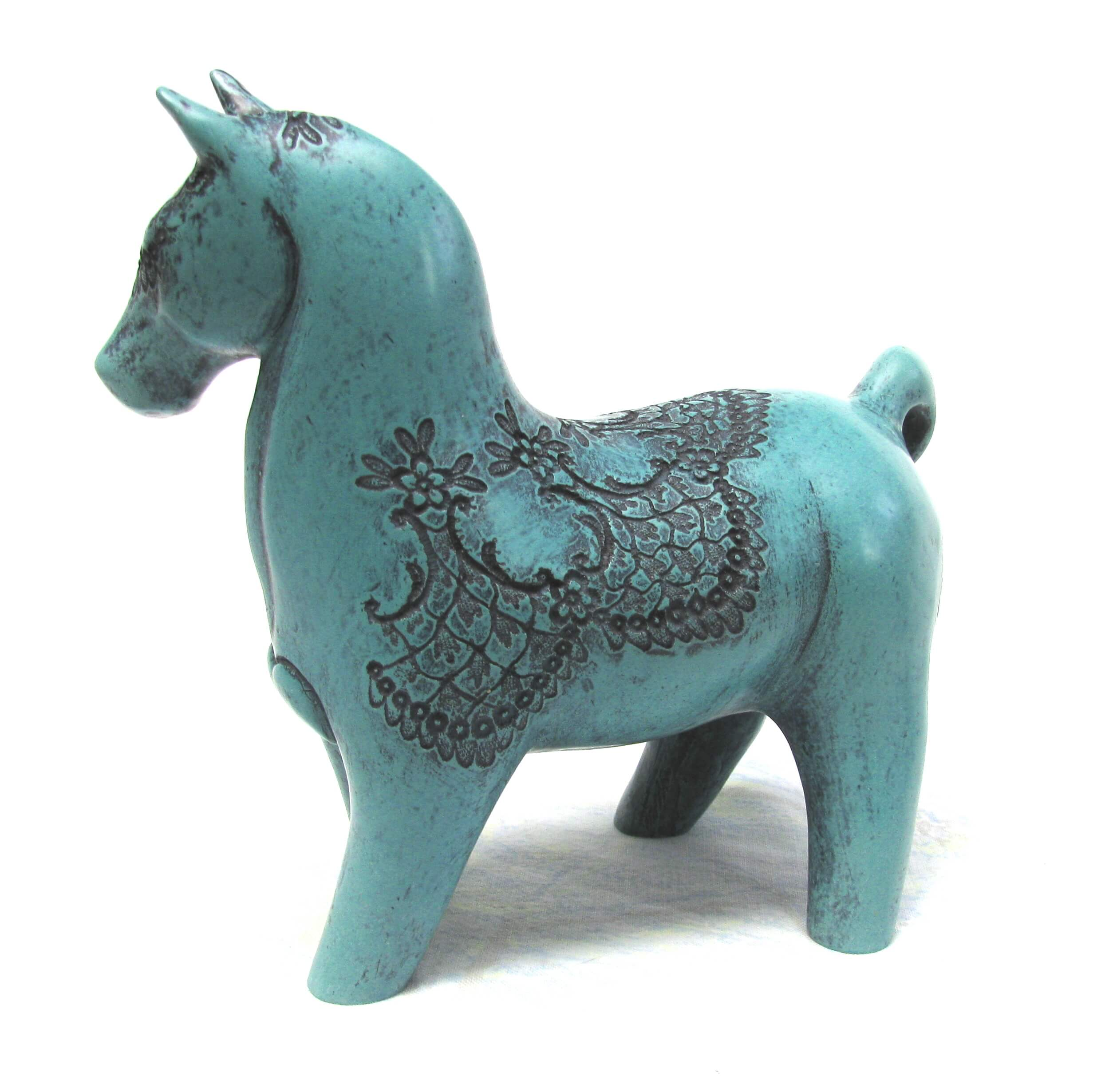 Horse with back lace - turquoise